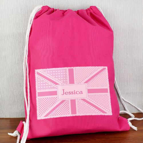 Personalised Pink Patchwork Union Jack Swimbag